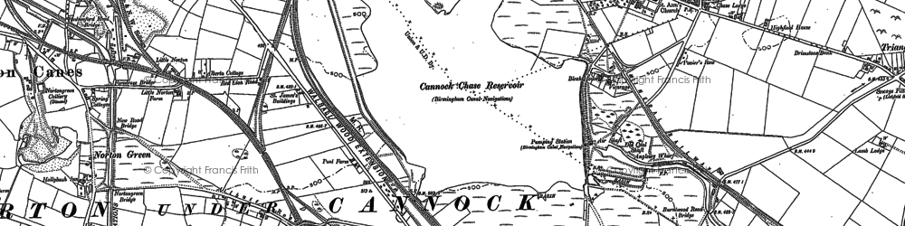 Old map of Wyrley Common in 1883