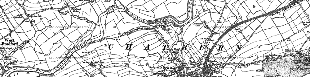 Old map of Chatburn in 1910