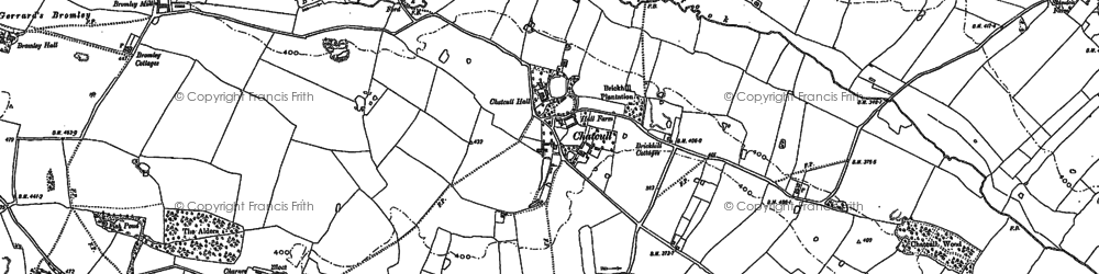 Old map of Whittington in 1879