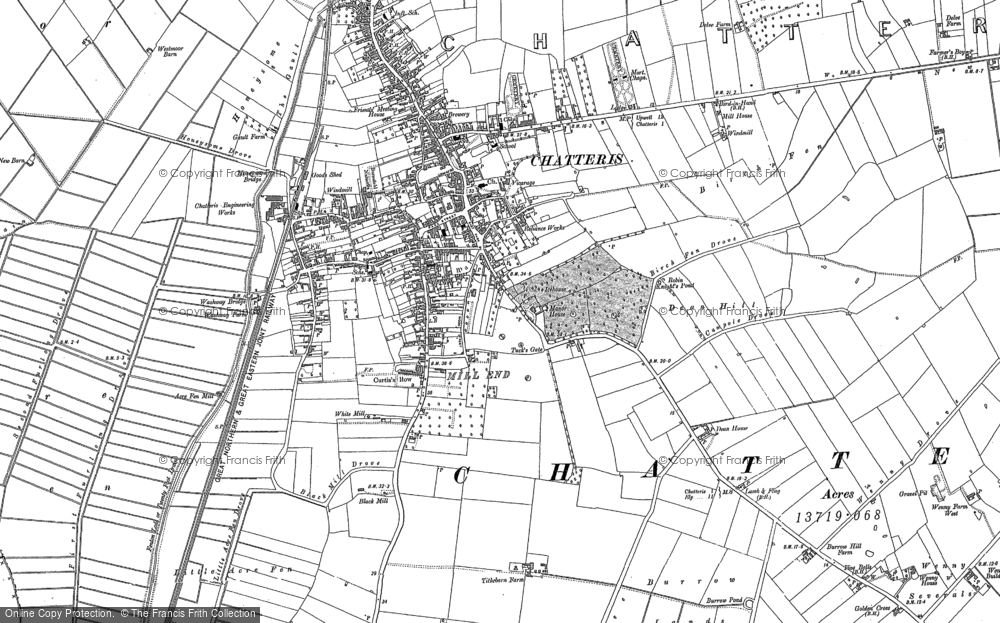 Old Map of Historic Map covering Langwood Hill in 1886