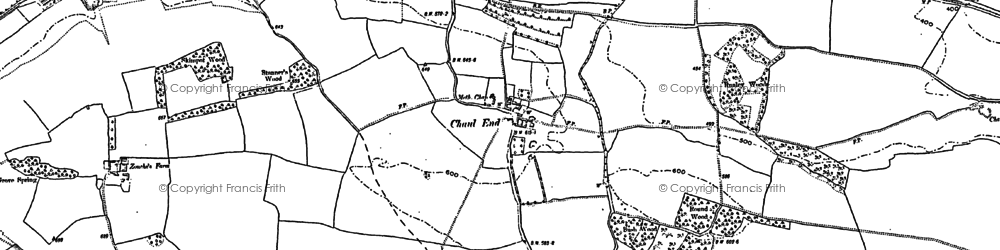 Old map of Downside in 1881