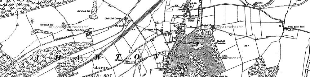 Old map of Chawton in 1895
