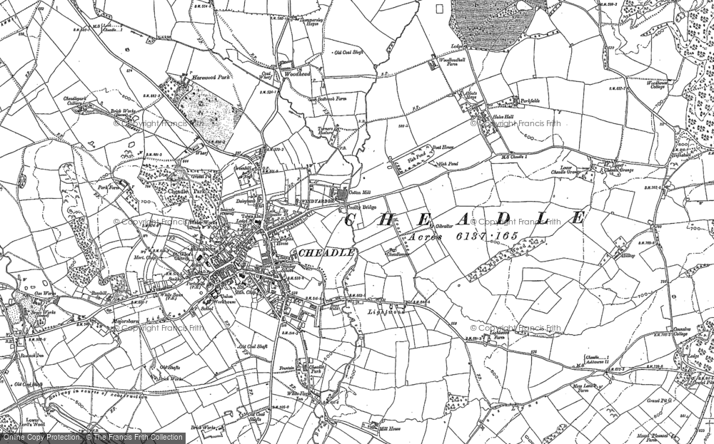 Old Map of Historic Map covering Lightwood in 1879
