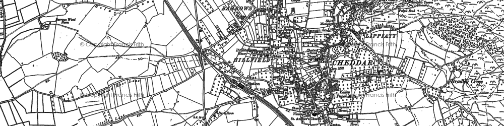 Old map of Cheddar in 1884