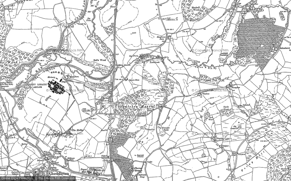 Old Map of Historic Map covering Leekbrook in 1879