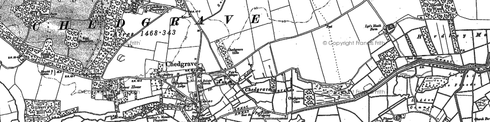 Old map of Chedgrave in 1884