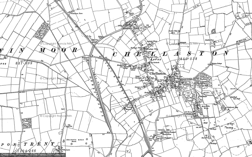 Old Map of Chellaston, 1881 - 1899 in 1881