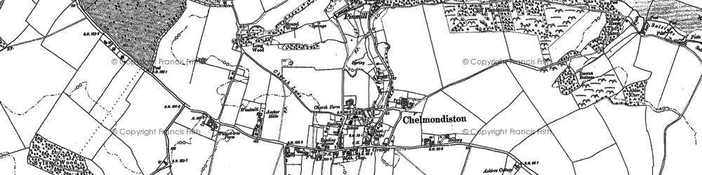 Old map of Chelmondiston in 1881