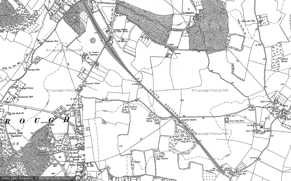 Old Map of Historic Map covering Woodlands in 1895