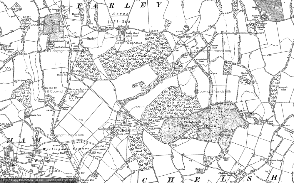 Old Map of Chelsham, 1908 in 1908