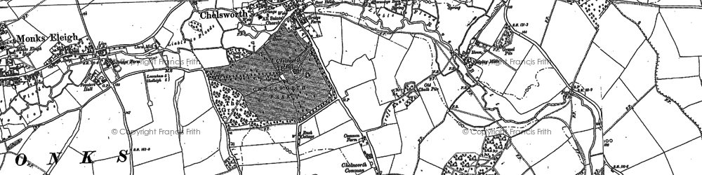 Old map of Chelsworth in 1884