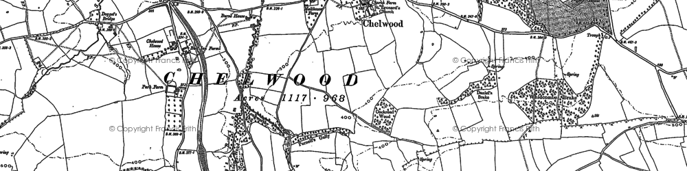 Old map of Whitley Batts in 1882