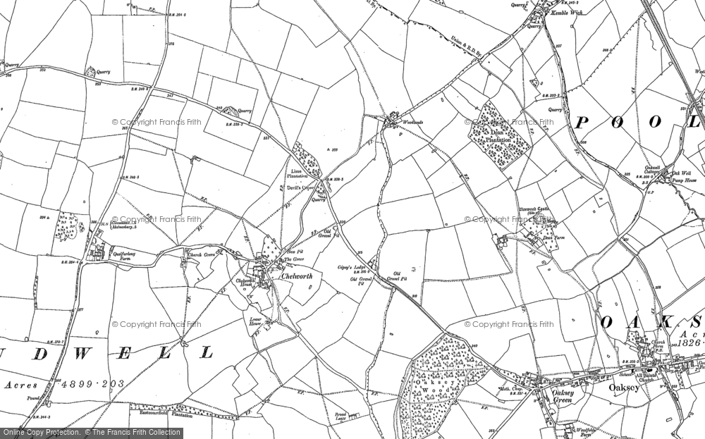 Old Map of Historic Map covering Woodlands in 1898
