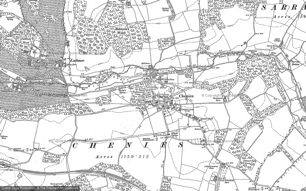Old Map of Chenies, 1913 - 1923 in 1913