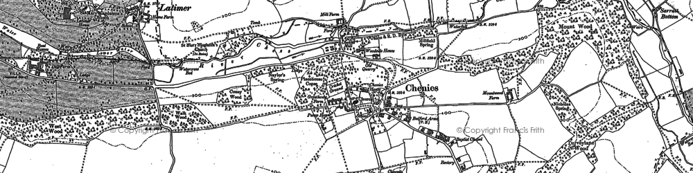 Old map of Chenies in 1913