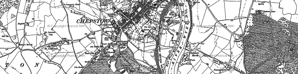 Old map of Chepstow in 1900