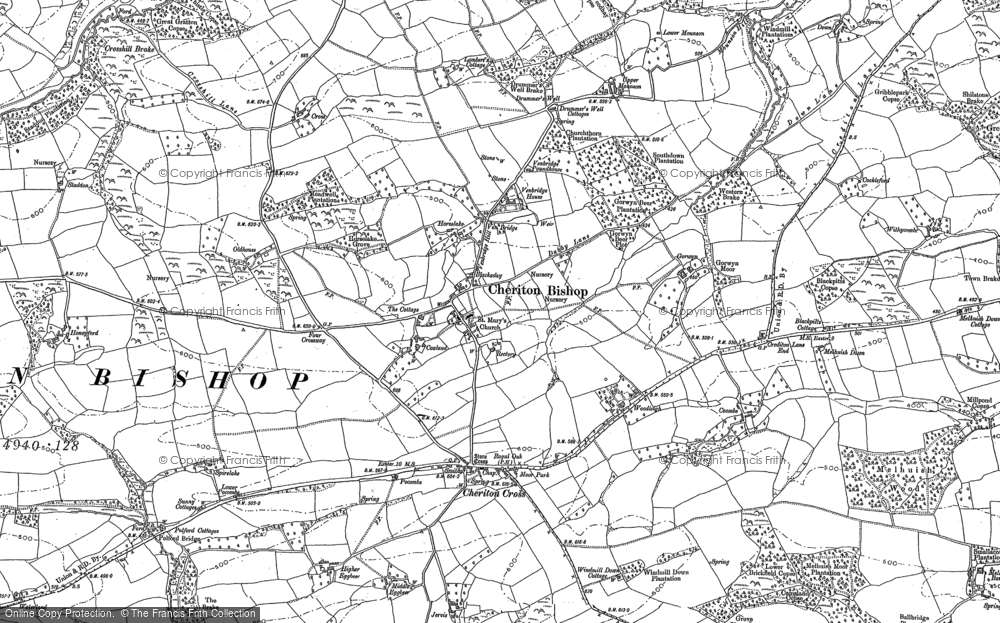 Old Map of Historic Map covering Woodleigh in 1887
