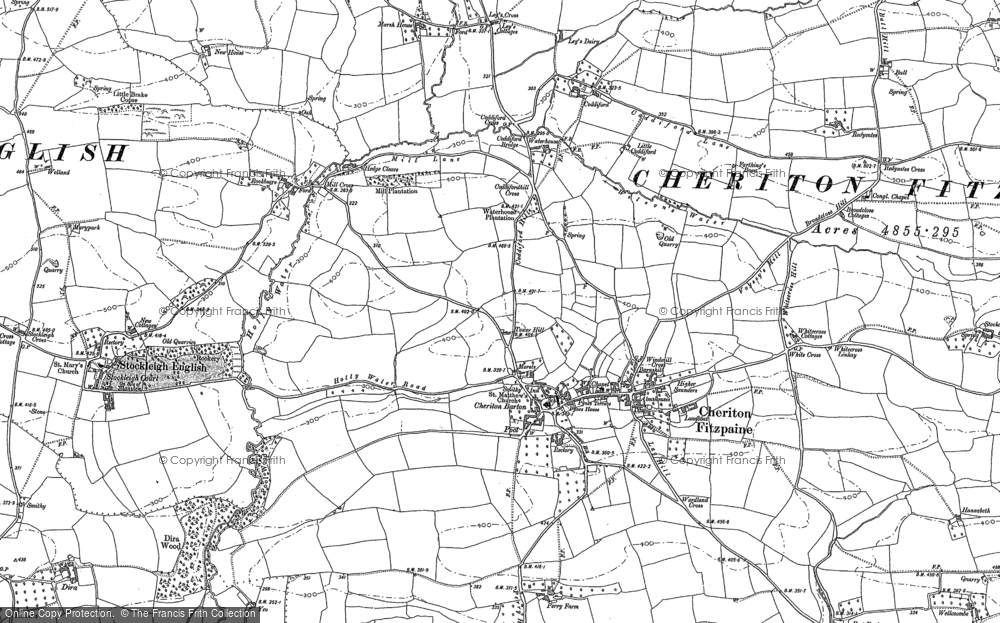 Old Map of Cheriton Fitzpaine, 1887 in 1887