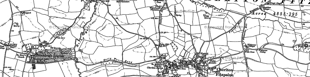 Old map of Cheriton Fitzpaine in 1887