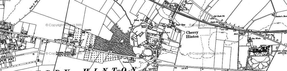 Old map of Cherry Hinton in 1885