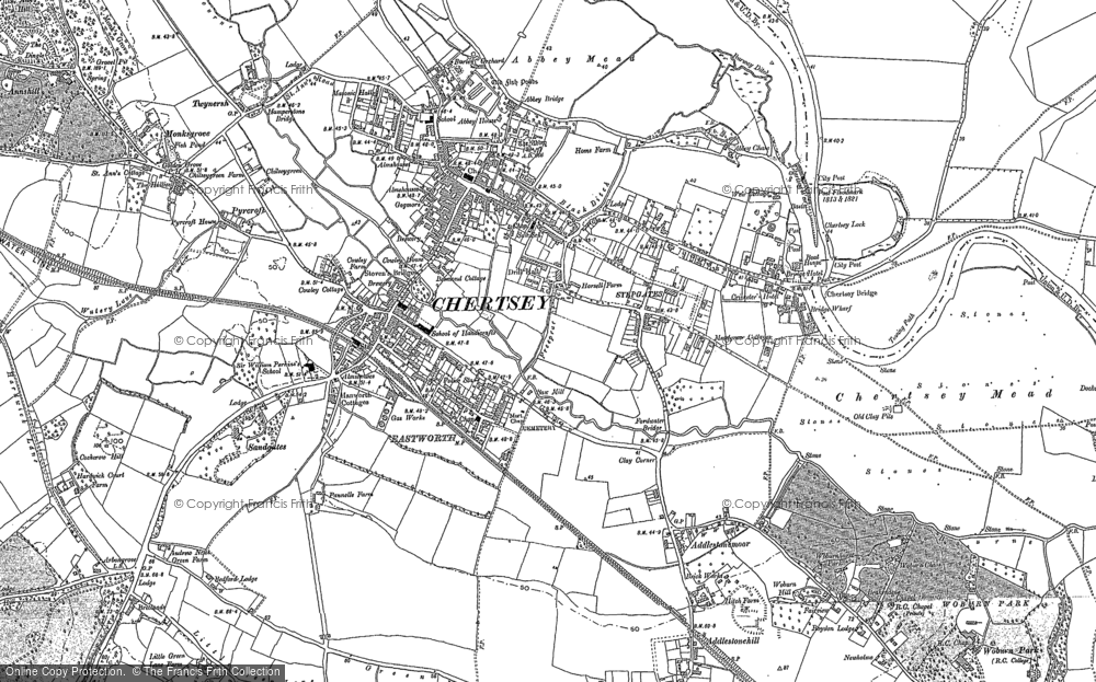 Old Map of Historic Map covering Abbey Mead in 1894
