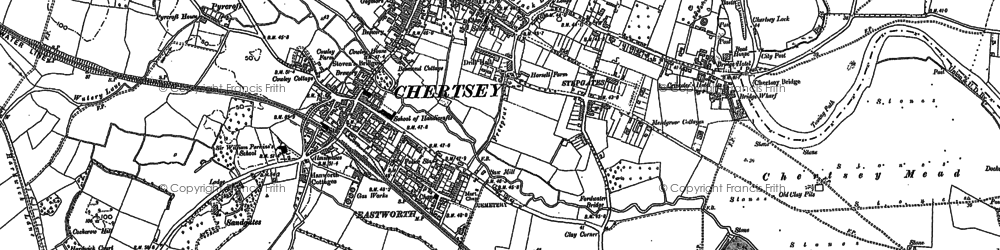 Old map of Addlestonemoor in 1894