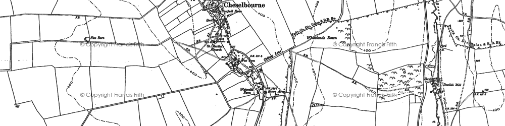 Old map of Whitcombe Hill in 1887