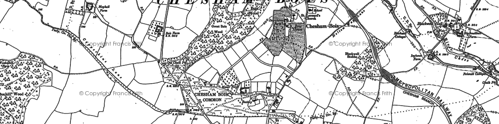 Old map of Chesham Bois in 1923