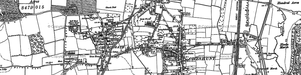Old map of Cheshunt in 1912