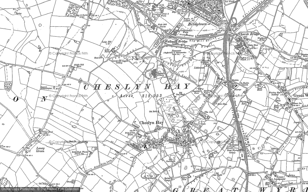Old Map of Cheslyn Hay, 1883 in 1883