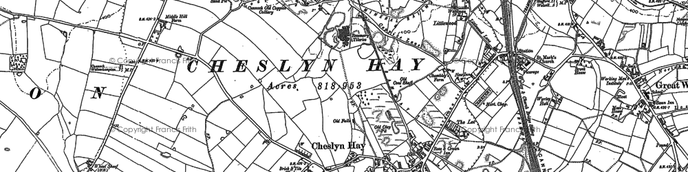 Old map of Cheslyn Hay in 1883