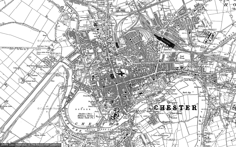 Old Map of Historic Map covering Abbot's Meads in 1898