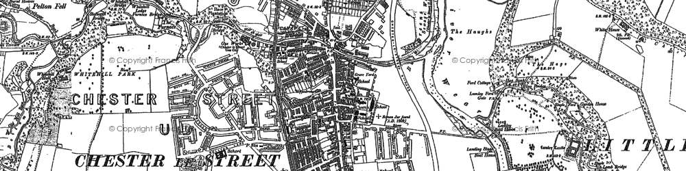 Old map of Lumley Castle in 1895