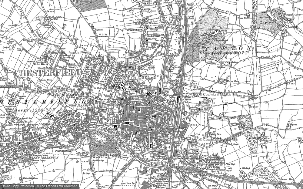 Old Map of Chesterfield, 1876 in 1876