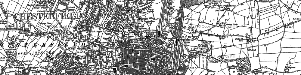Old map of Chesterfield in 1876