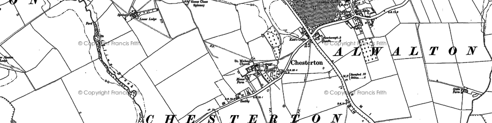 Old map of Chesterton in 1887