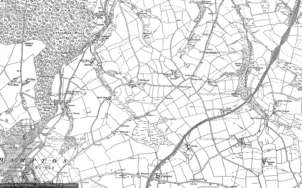 Old Map of Historic Map covering Abbeyford Woods in 1884