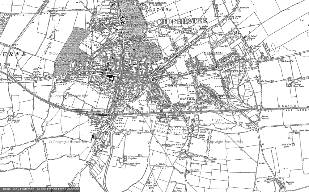 Old Map of Historic Map covering Whyke in 1896