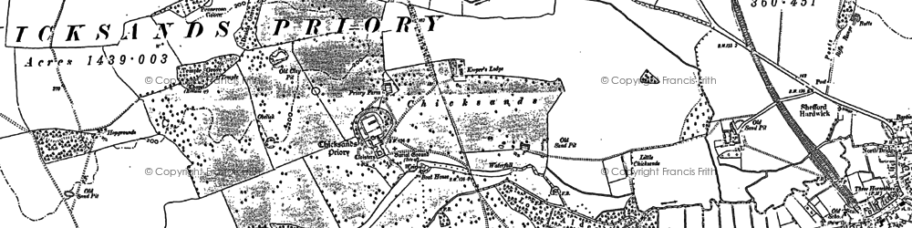Old map of Chicksands in 1882