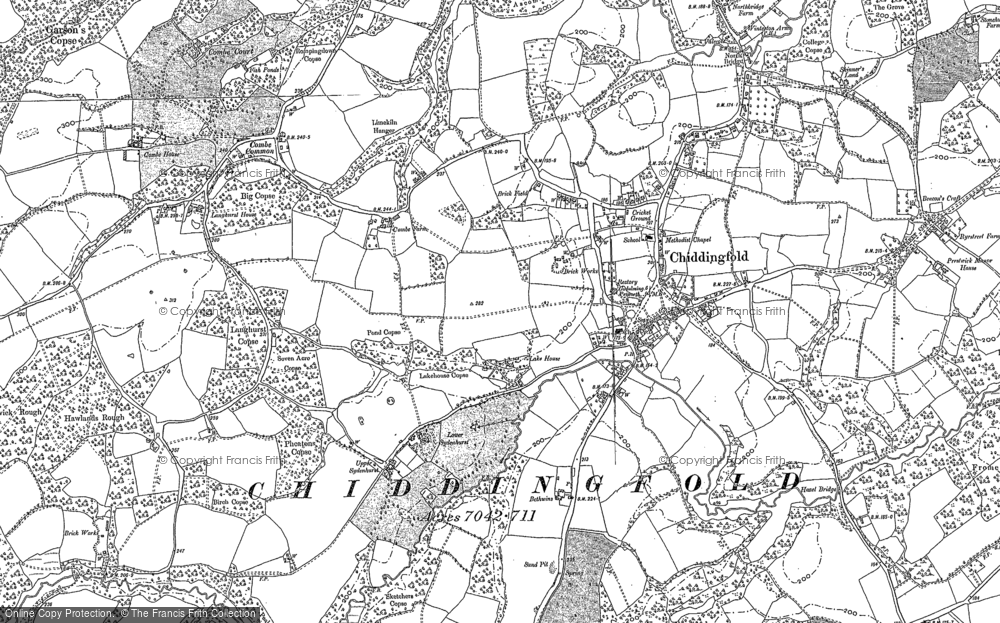 Old Map of Historic Map covering Langhurst Manor in 1896