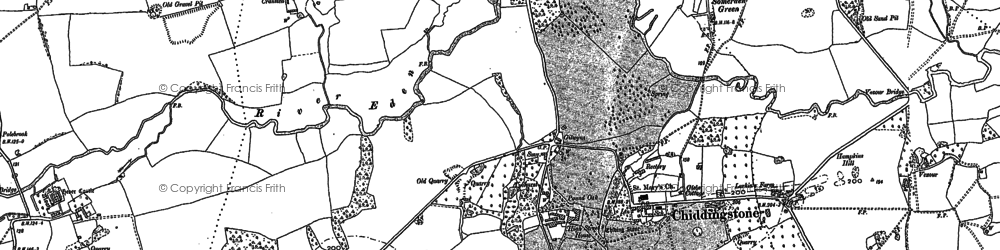 Old map of Chiddingstone in 1895