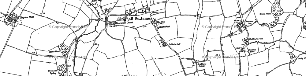 Old map of Chignall St James in 1895