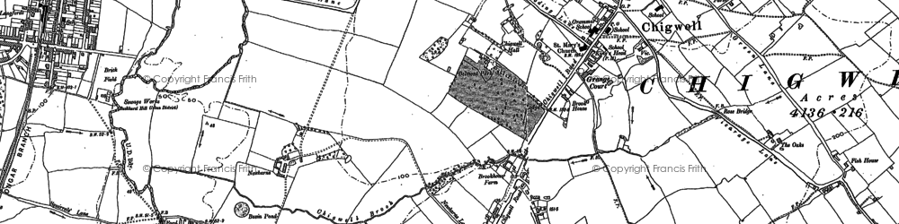 Old map of Chigwell in 1895