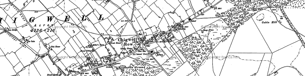 Old map of Chigwell Row in 1895