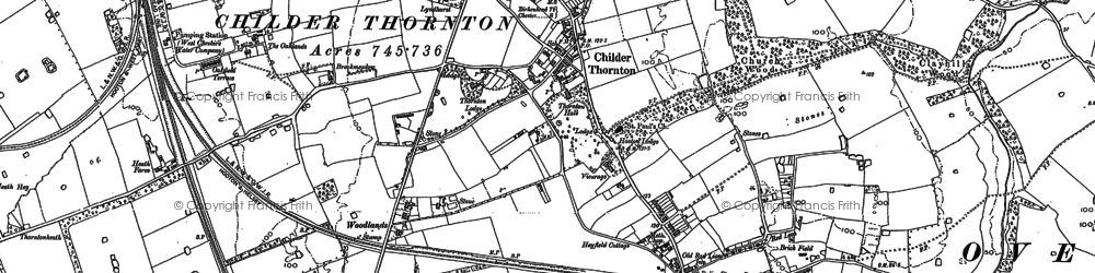 Old map of Childer Thornton in 1897