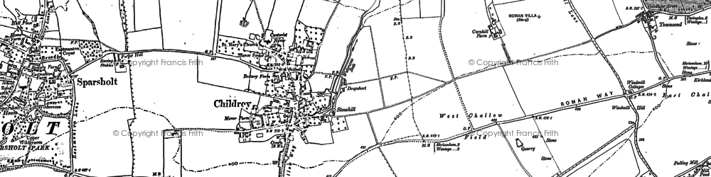 Old map of Childrey in 1877
