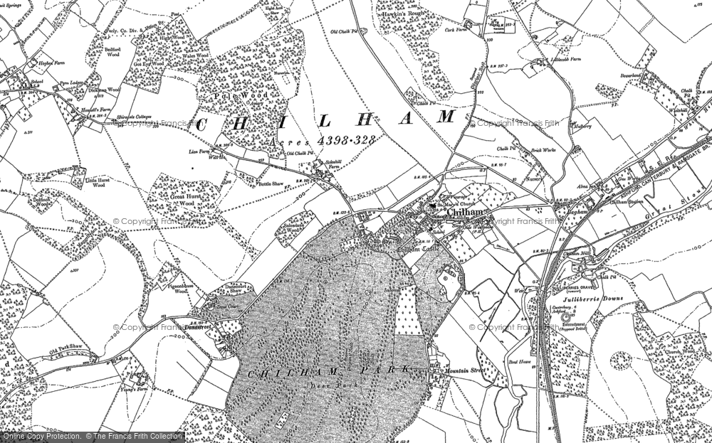 Old Map of Historic Map covering Bagham in 1896