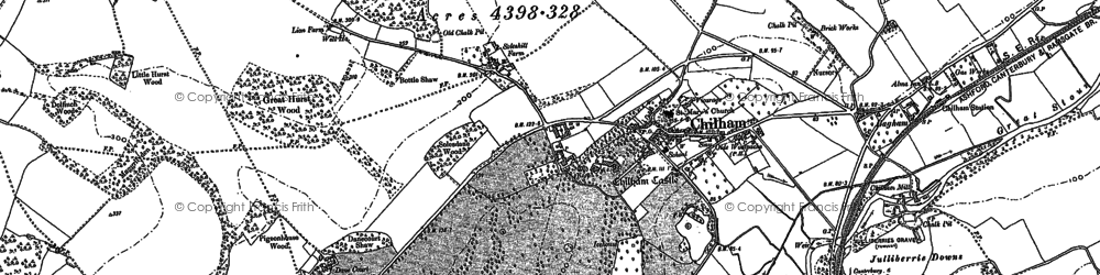Old map of Bagham in 1896