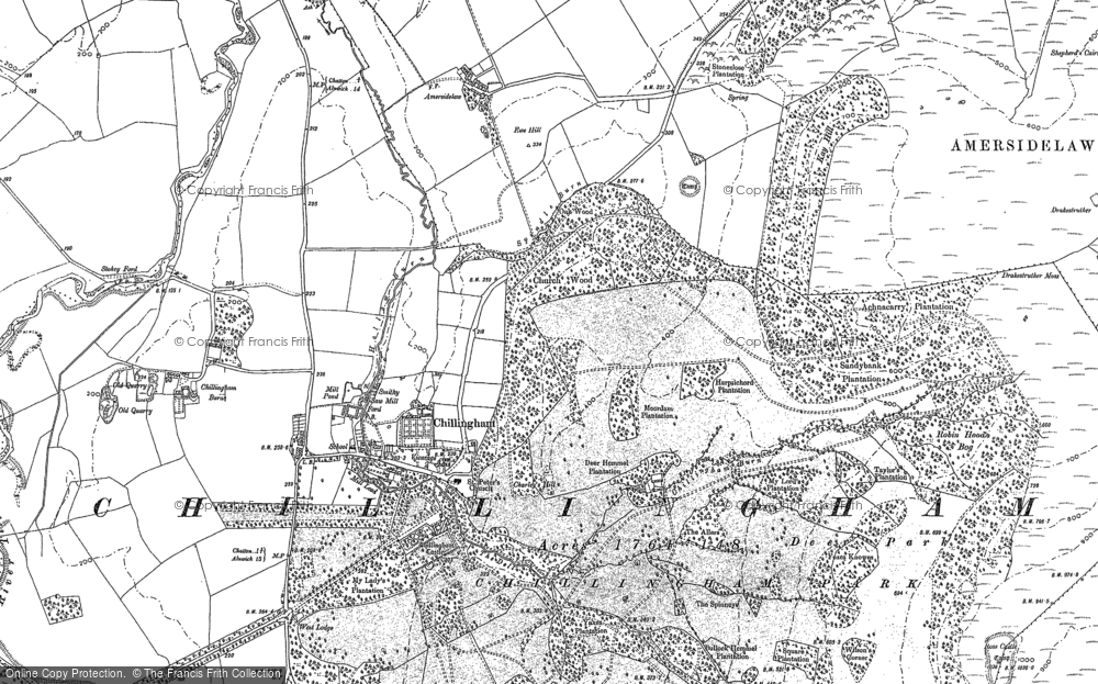Old Map of Chillingham, 1897 in 1897