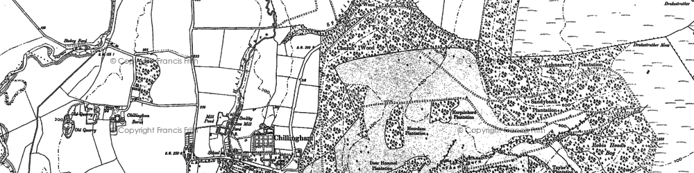 Old map of Chillingham in 1897